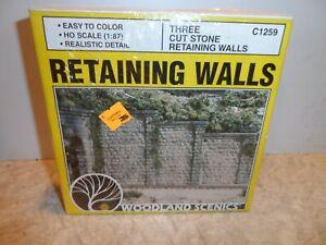WOODLAND SCENICS HO SCALE CUT STONE RETAINING WALLS C-1259 N.I.B.