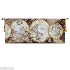 """Medieval Woven Fine Art Tapestry Wall Hanging 100% Cotton 27""""x68"""" for World Map"""