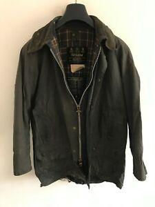 Mens Vintage Barbour Beaufort wax jacket Blue coat 38in size Small / Medium S/M