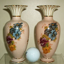 Antique Grimwades Pansy Spill vases Beautifully crazed Arts and Crafts era rare