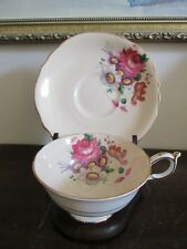 Vintage Paragon England Hand Painted Tea Cup And Saucer Creamy Flowers Rose