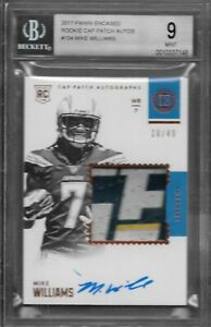 Mike williams Los Angeles Chargers 2017 Panini Encased rookie cap Patch Auto BGS