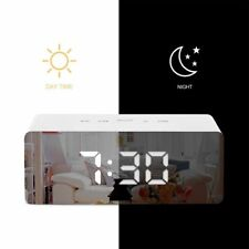 Alarm Clock LED Mirror Digital Snooze Table Clock Light Large Time Temperature