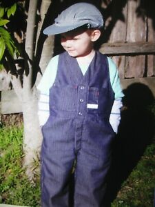 kids work/play overalls safety-like dad's-denim look- stripe-2 sizes available