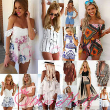 Cotton Patternless Playsuits for Women