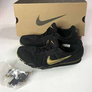 Vtg Nike Track Spikes Zoom Rival D III 3 Mens Size 9 US 1990s Rare Black & Gold