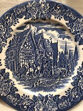 Ironstone English England Dinner Plate Blue And White