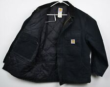 Carhartt Men's Sz 44 Large Quilt Thermal Lined Black Distressed Workwear Jacket