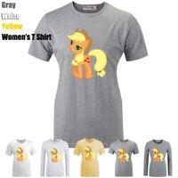 My Little Pony Applejack Pattern Print T-Shirt Womens Girls Graphic Tee Tops
