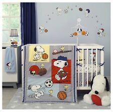 Crib Bedding Nursery Snoopy Sports Baseball Basketball Football Soccer 3 Pcs