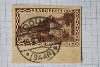 Saargebiet Bous dated postmark SAAR SOTN 40c Postal card Stationery cut square