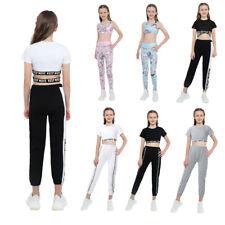 Girls Sport Suit Round Neck Short Sleeve Crop Top+High Waist Trousers Pants Sets