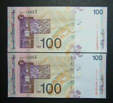 Rm100 Malaysia note (A Abul Hassan)side-sign 2pcs r/n unc #96