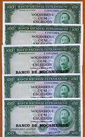 LOT Mozambique, 5 x 100 escudos, ND (1976), P-117, UNC