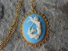 MERMAID CAMEO GOLD TONE PENDANT NECKLACE - VACATION - CRUISE - SAILOR JERRY - AQ