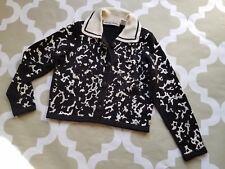 VTG Michael Simon New York Embroidered Collar Sweater Cardigan M Ramie/ cotton