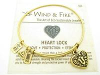 Wind & Fire 3D Heart Lock Charm Gold Wire Bangle Stackable Bracelet USA Gift New