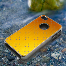 Yellow Stylish Brushed Chrome Protective Hard Back Case Cover for iPhone 4 4S