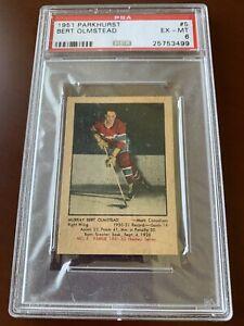 1951-52 Parkhurst #5 Bert Olmstead Rookie Card RC HOF PSA 6 EX-MT