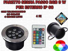 4 FARETTI RGB INCASSO LED 9 W PER ESTERNO SEGNA PASSO CALPESTABILE IP68 GIARDINO