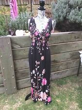 Ladies Dress Black floral design long dress 135 cm long Small size 39 cm wide