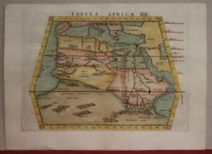NORTH AFRICA MAURITANIA & MEDITERRANEAN SEA 1562 PTOLEMY & MOLETO UNUSUAL MAP
