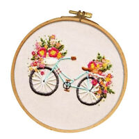 Cartoon Bicycle Pattern DIY Cross Stitch Stamped Embroidery Kit for Beginner