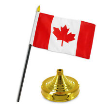 "Canada Canadian Leaf Flag 4""x6"" Desk Set Table Stick Gold Base"