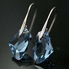 Aqua Blue Crystal Drop white gold plated Earrings jewelry Elements gift