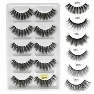 5 Pairs 100% Mink Natural Thick False Fake Eyelashes Eye Lashes Makeup Extension