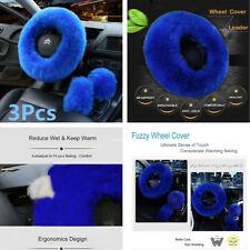 3Pcs Universal Car Steering Wheel Cover Gem Blue Fur Fluffy Long Wool Plush Kit