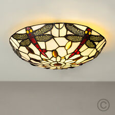 Traditional Dragonfly Design Stained Glass Flush Ceiling Uplighter Light Fitting