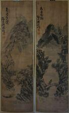 Pair of Large Old Antique Korean Sumi Ink Man Fishing Mountain Signed