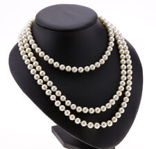 Freshwater Pearl white drop pearl necklace Beaded 150cm Long Chain Rope Bead