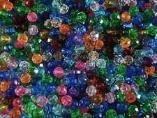 Beads 6mm Faceted Plastic Transparent Mix 25g Jewellery Spacer FREE POSTAGE