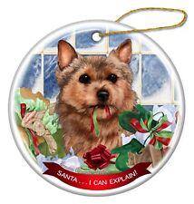 Norwich Terrier Dog Porcelain Hanging Ornament Pet Gift 'Santa. I Can Explain!'