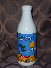 Vintage Carlton White Milk Glass Water Bottle With Beautiful Palm Beach Scene