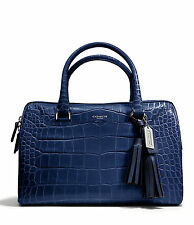 NWT Coach Legacy Haley Satchel Exotic Croc-Embossed Leather 25324 Silver / Navy