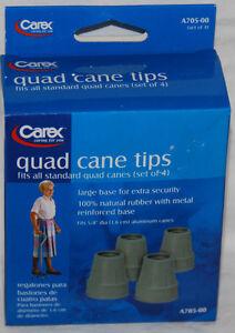 "4 Universal Quad Cane Tips 5/8"" Crutches Grey Standard Metal Wood A705 Walker"