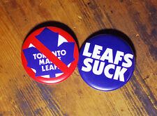"2 x 2.25"" LEAFS SUCK BUTTONS montreal canadiens ottawa senators pins badges"