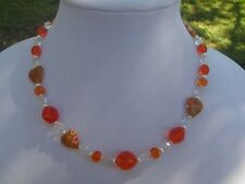 Orange and Clear Czech Glass Handmade Necklace with Orange Millefiori Hearts