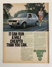 1979 Volkswagen VW Rabbit Diesel Print Ad Original Vintage Does It Again