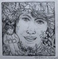 Karin Goebel Radierung Surrealismus Radierung Porträt Lächelnde Frau Komposition
