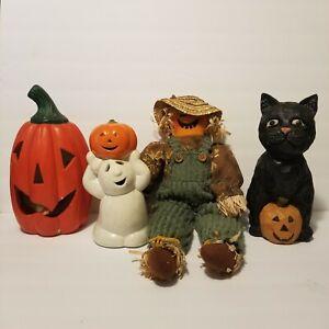 Halloween Decoration 4PC LOT Pumpkin Jack-O-Lantern Ghost Scarecrow Black Cat
