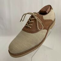 Bass Burlington Oxfords Saddle Brown Leather Beige Fabric Lace Up Shoes Size 10D