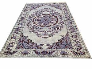 "8'6"" x 5'4""  vintage blue jean  carved BLUE Overdyed rug carpet teppich tapis"