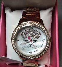 NIB BETSEY JOHNSON Princess Crown Tiara Cat Face Rose Gold Band Watch BJ00131