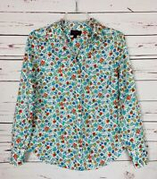 J.CREW Liberty Art Fabrics White Spring Floral Button Top Shirt Blouse Women's 4