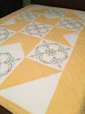 """Orange White Embroidered Quilt Hand Quilted 74""""x86"""""""
