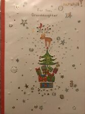"""NIP Papyrus Merry Christmas Card """"Granddaughter"""" Happy Holidays Embellished Tree"""